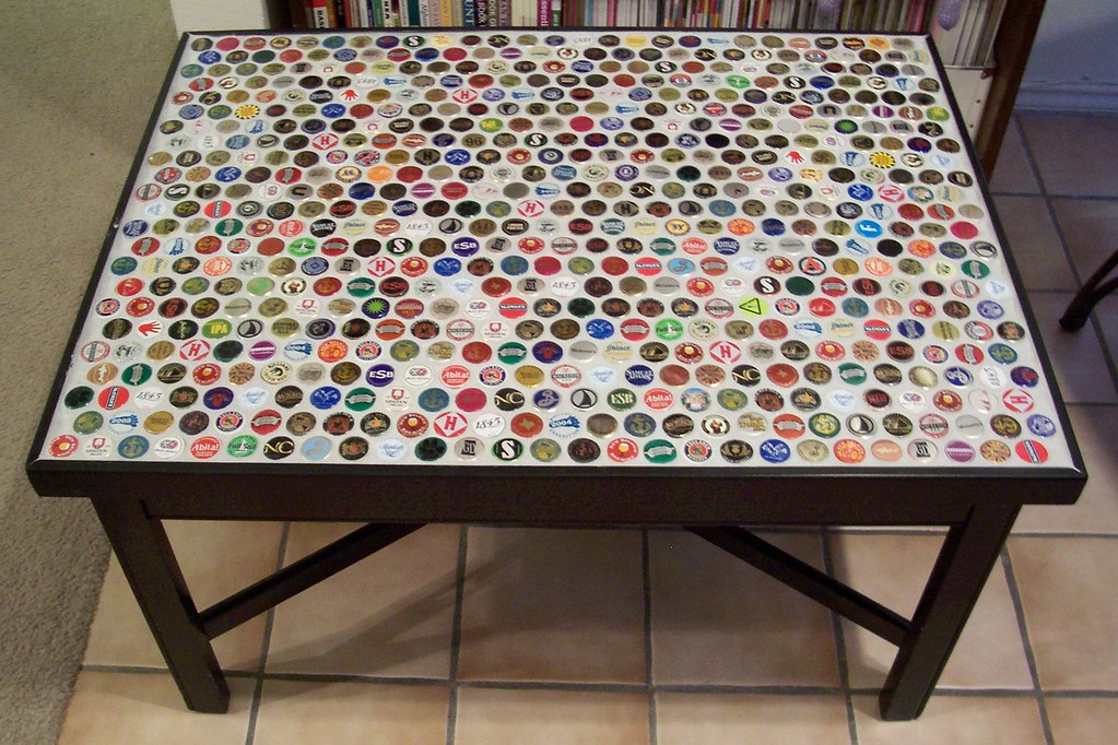 Bottle Cap Coffee Table Step 5 Grouted between the caps Flickr