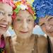 Elderly Women Wearing Colorful Bathing Caps