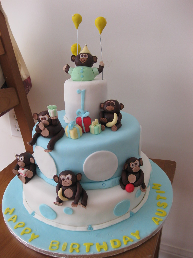 Cake Ideas For Baby Boy 1st Birthday : Baby Boy 1st Birthday Monkey cake! www.customcakesbyjen ...