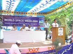 A student is delivering lecture on Space Debate