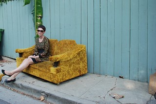 Kristen sitting on a couch on a Silverlake street | by kthread