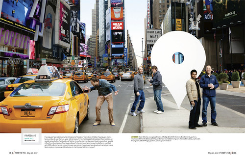foursquare gets a shoutout in Fortune magazine piece highlighting the boards of different companies. This was a fun shoot to do up in Times Square.  (Aug 2011, pg 184) | by dpstyles™