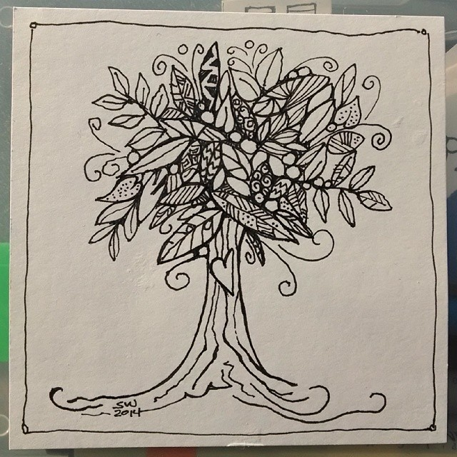 This is it. Tree tangle drawing. #zentangle , #twistedline, #tangle, # ...