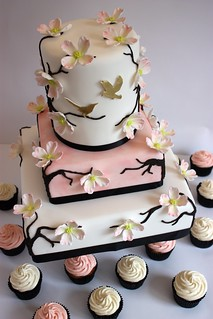 Dogwood Blossom Wedding Cake with Cupcakes | by ConsumedbyCake