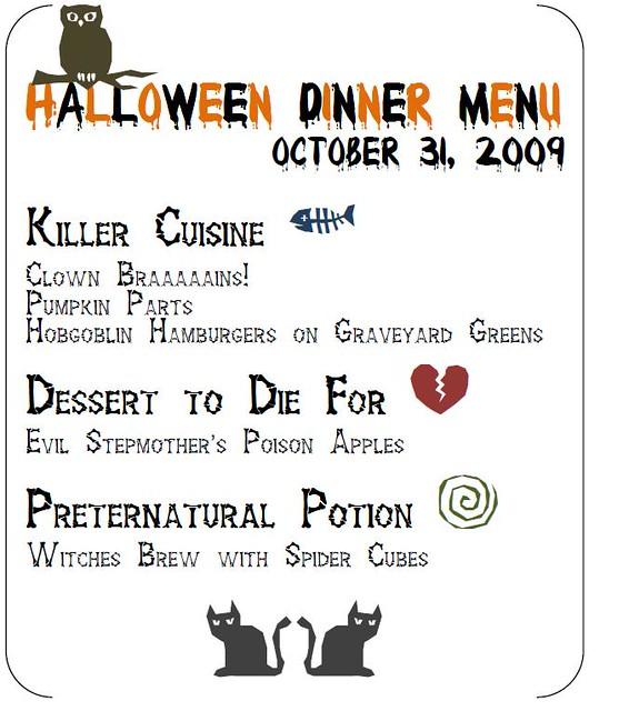 halloween dinner menu blogged hannihaus com 2009 10 15 so flickr