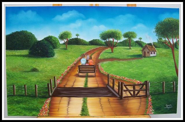 caminho da ro a pintura leo 50x80cm imagine arte