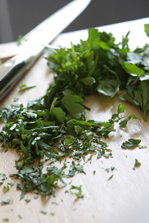 chopped herbs for Tabbouleh | by David Lebovitz