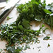 chopped herbs for Tabbouleh