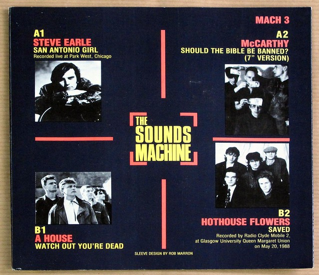 "SOUNDS MACHINE EP3 PROMO STEVE EARLE / MCCARTHY / A HOUSE / HOTHOUSE FLOWERS EP 7"" 33RPM PS SINGLE VINYL"