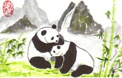 Pandas and bamboo 2 | My latest CBP done on 90# watercolor ...