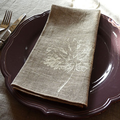 Silk screened linen napkin | by Bloomsong em
