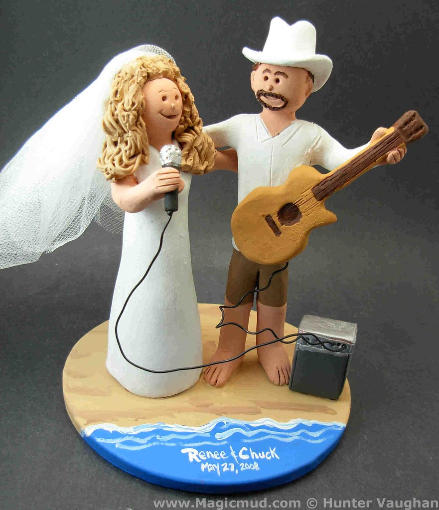 Acoustic Guitar Wedding Cake Topper