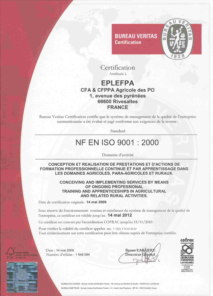 certification iso 9001 mars 2009 suite un audit de. Black Bedroom Furniture Sets. Home Design Ideas