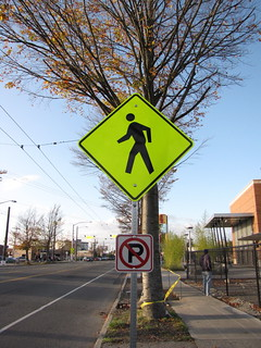 New pedestrian warning signage on Beacon Avenue South | by litlnemo