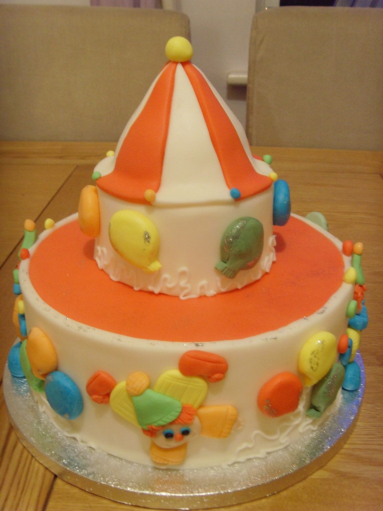 Astounding Circus And Clown Birthday Cake Acrobatic Clowns Two Tier B Flickr Funny Birthday Cards Online Inifodamsfinfo