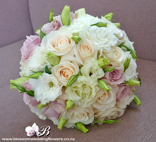 Vintage Rose Lisianthus Posy Bridal Bouquet Of Roses And