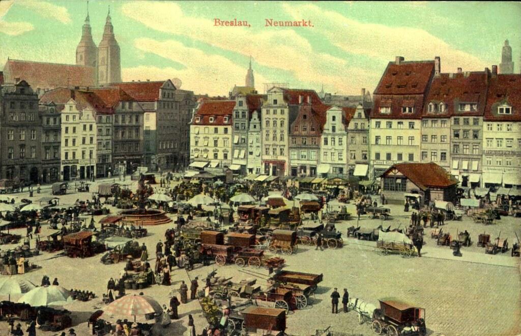 Ancienne carte postale de Neumarkt à Breslau, aujourd'hui place Nowy Targ à Wroclaw.