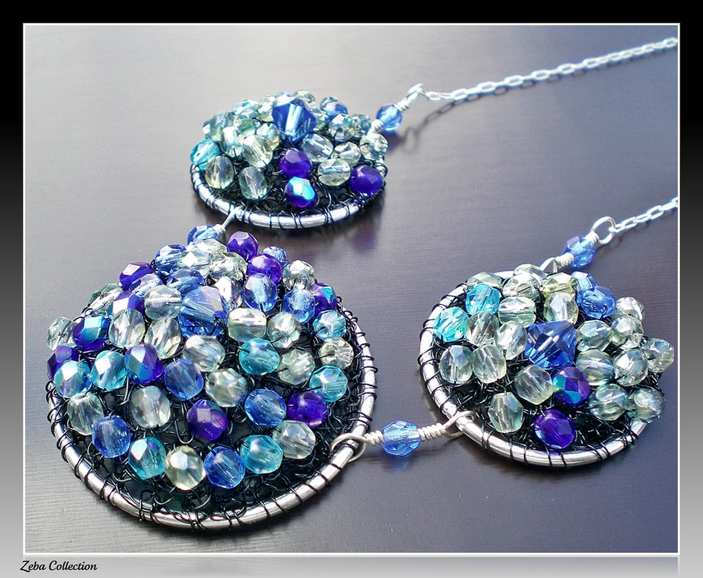 Blue Fire Polished Glass Wire Crochet Necklace | zeba collection ...