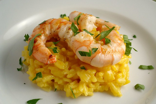 Saffron Risotto with Grilled Shrimp