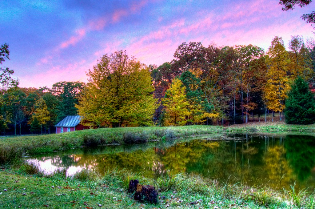 Sunset on the Pond (HDR) | This is an HDR photo taken with ...