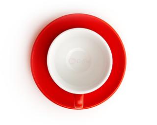 Acf Fac Spa Italy Poreclain Espresso Cups Acf Red