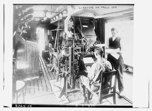 Linotype on press car  (LOC) | by The Library of Congress