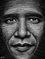 Obama in a Few Lines | by Ben Heine