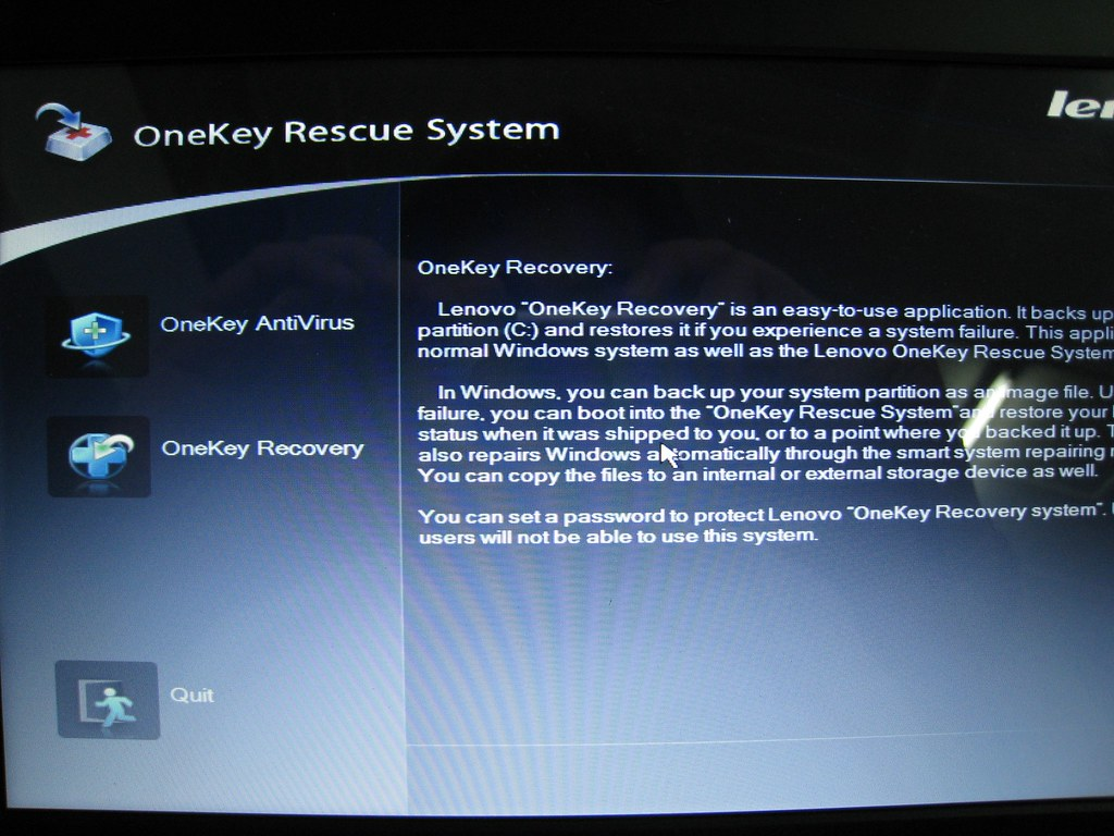 One key rescue system lenovo download