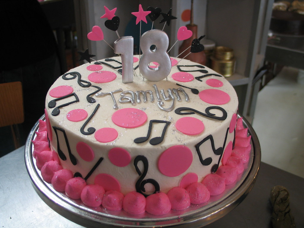 Wicked chocolate cake with musical notes and polka dots- p ...