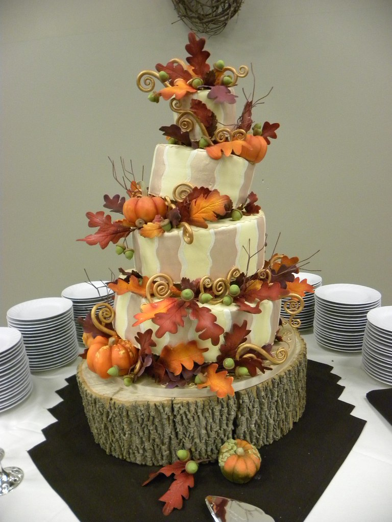 Pumpkin Harvest Cake 1 Fun Topsy Turvy Design Wedding