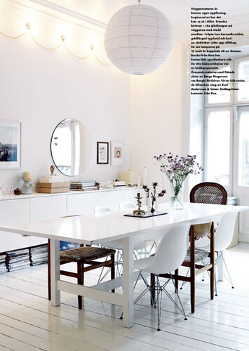 Big White Dining Table amp Wooden Chairs Magazines