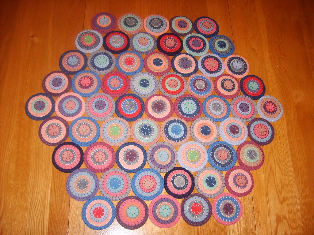 Hexagon Penny Rug This Is My Latest Creation With Wool Fel