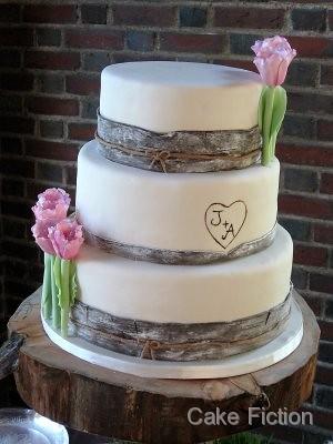 Birch Wood Theme Wedding Cake A Beautiful Wedding Took