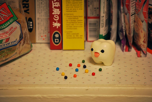 Apparently he snuck into the kitchen cabinet to eat a midnight candy snack. Bad ickle! | by Inhae Lee