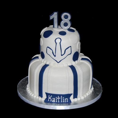 Blue And White Nautical Themed 18th Birthday Cake Dana