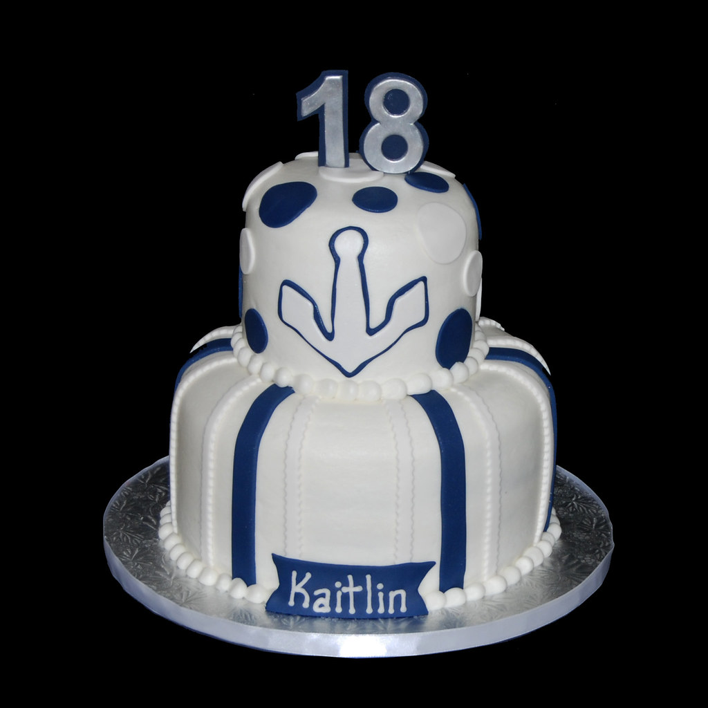 Blue And White Nautical Themed 18th Birthday Cake Dana