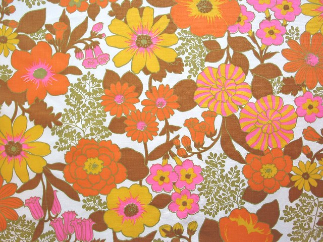 vintage flower power fabric a fun 60 70 39 s flower power flo flickr. Black Bedroom Furniture Sets. Home Design Ideas