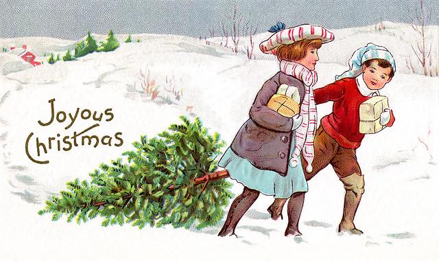 a country christmas 1913 vintage xmas card illustration by ironrodart royce bair - A Country Christmas
