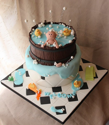 Cake Flavor Ideas For Baby Shower : Baby shower tub cake Bottom tier is vanilla cake filled ...