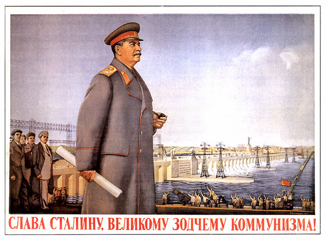 Ussr Stalin Dam Pipe Happy People Waving Arms Wave And