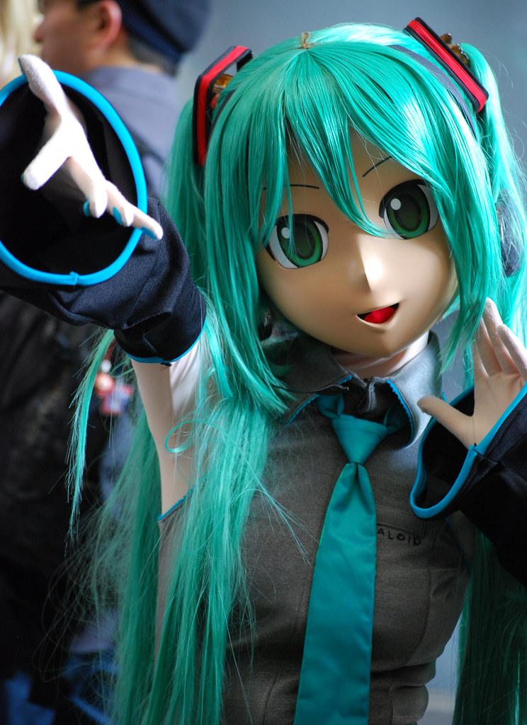 animegao or doller schoolgirl with green hair mikuru f