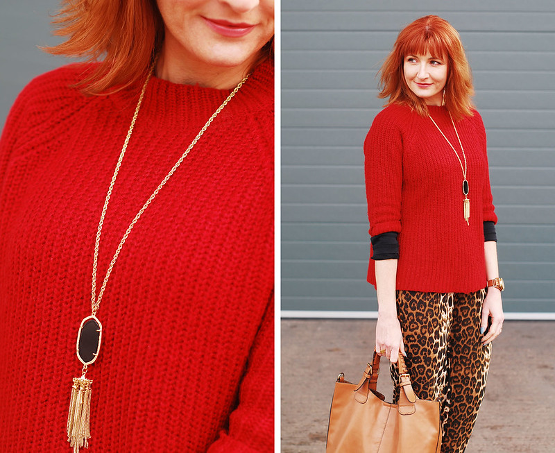 Bold autumn/fall/winter outfit: Red three quarter sleeve sweater, leopard print joggers, pointed black heels | Not Dressed As Lamb