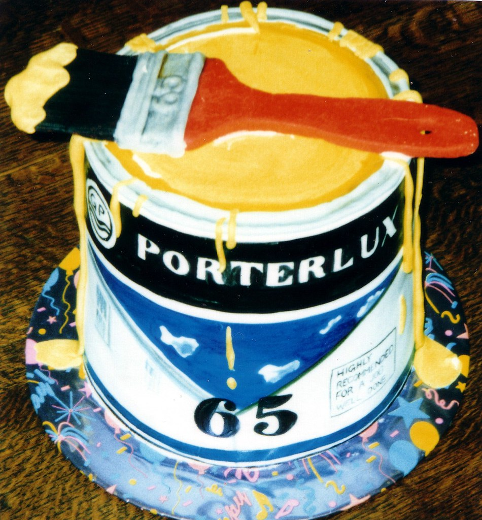 Paint can cake 65th birthday cake for painter and for Cake craft beavercreek ohio
