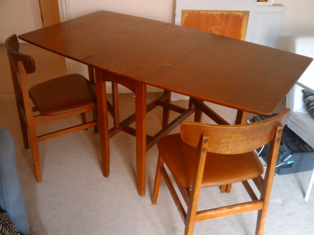 Dining Table 2 Chairs Wooden Fold Away Dining Table