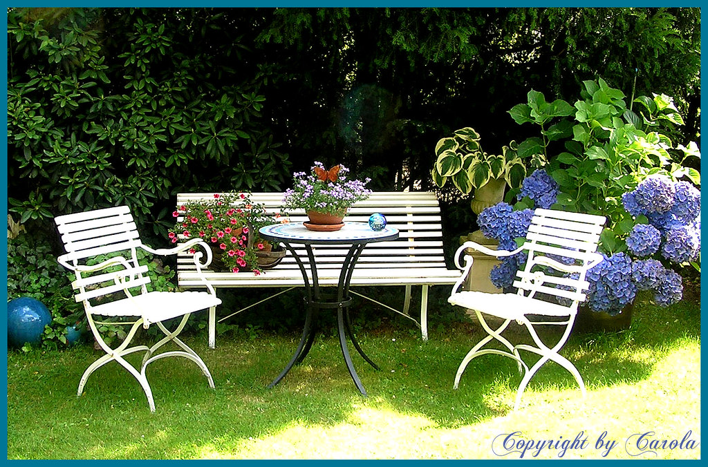 ... Vintage garden chairs and bench/Biergartenstühle | by Boxwoodcottage - Vintage Garden Chairs And Bench/Biergartenstühle In My Par… Flickr