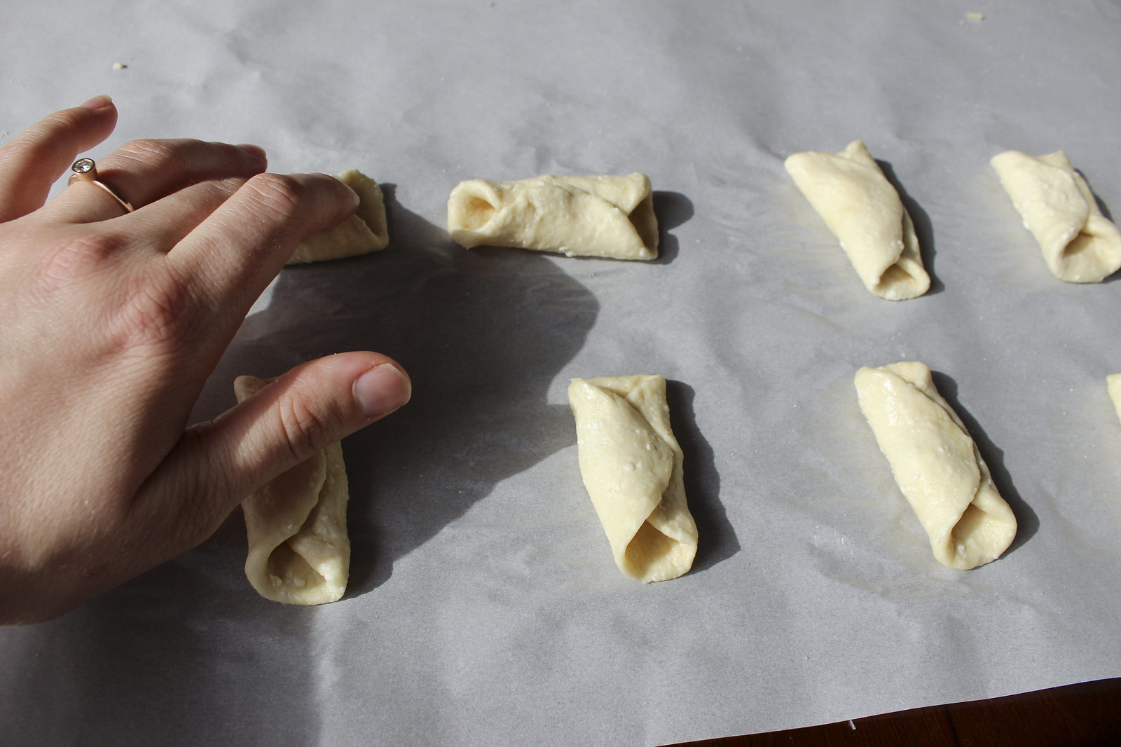 rolling up horn cookies