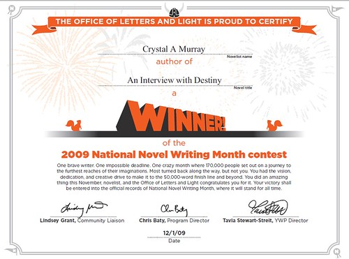 ... NaNoWriMo 2009 Winner Certificate For...   Certificate Winner