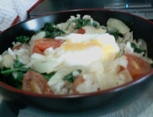 Poached Egg over Rice | with sauteed onion, garlic, grape to ...