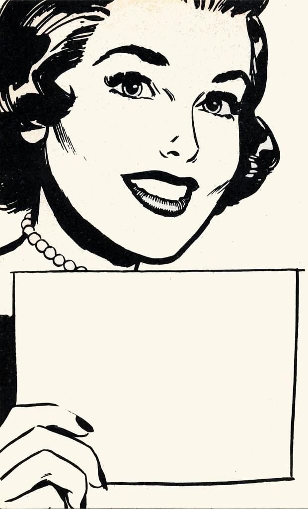 1960s woman with sign | Illustration from a 1963 booklet ...