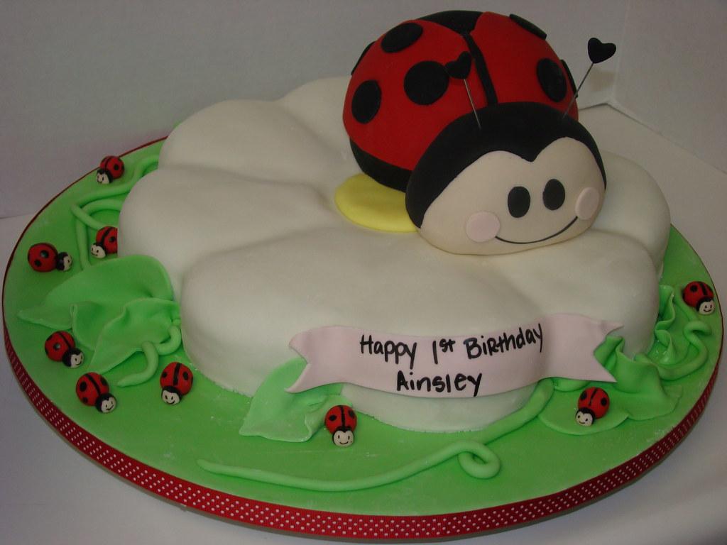 Ladybug Birthday Cake This 1st Birthday Cake Was A Ladybug Flickr